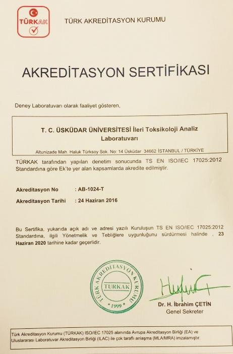 Üsküdar Üniversitesi İleri Toksikoloji Analiz Laboratuvarı akreditasyon belgesi aldı... 2