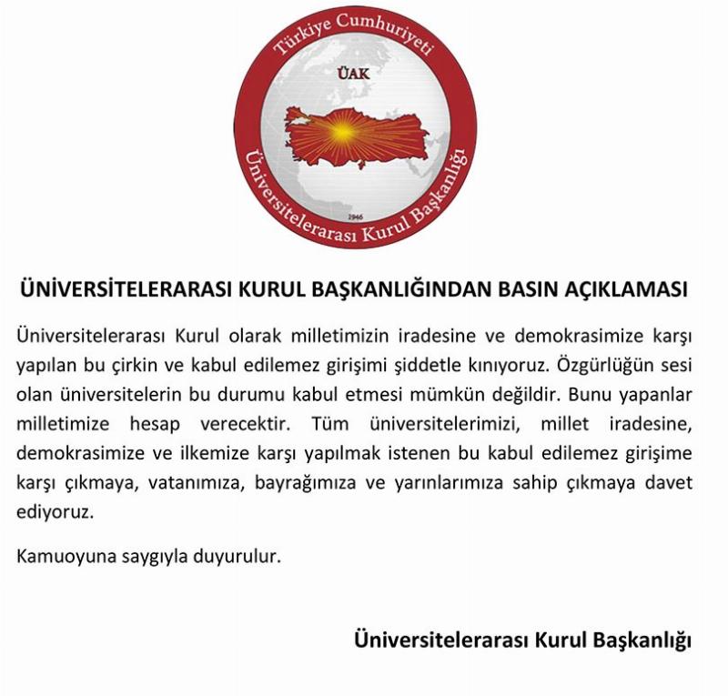 Üniversitelerarası Kurul Başkanlığından Basın Açıklaması