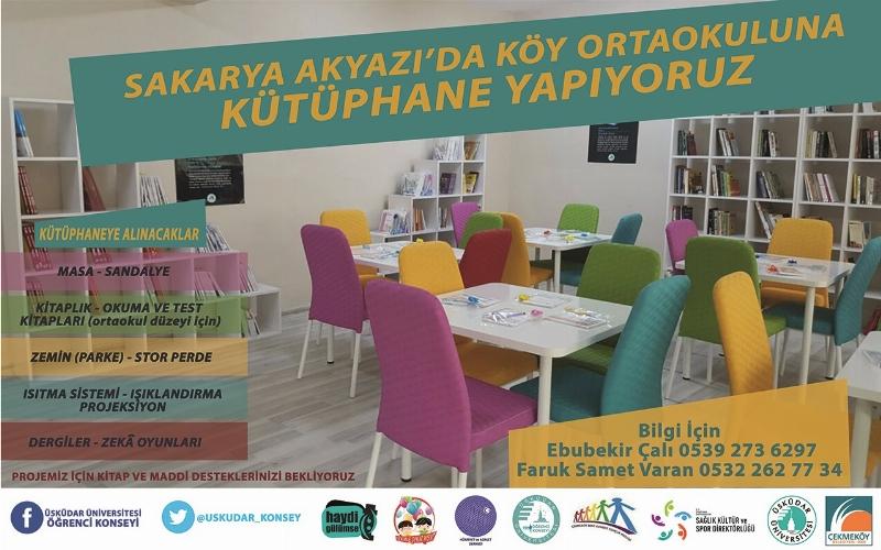 Üsküdar Üniversitesi öğrencileri şimdi de Sakarya'ya kütüphane kuracak!