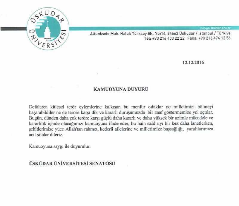 Üsküdar Üniversitesi Senatosu'ndan terörü kınama (2016-12-12)