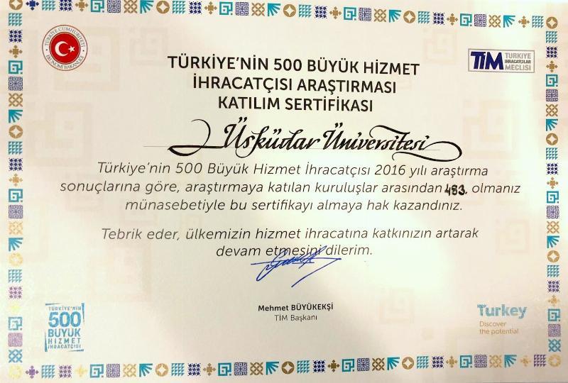 Üsküdar Üniversitesi Türkiye'nin 500 Hizmet İhracatçısından biri 2