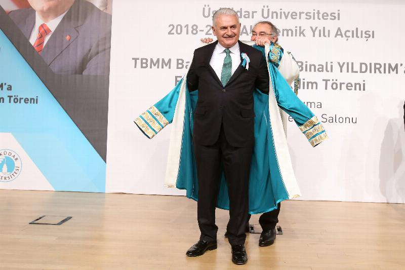 The Speaker of the Grand National Assembly of Turkey Mr. Binali Yıldırım received an Honorary Doctorate Degree from Üsküdar University 5