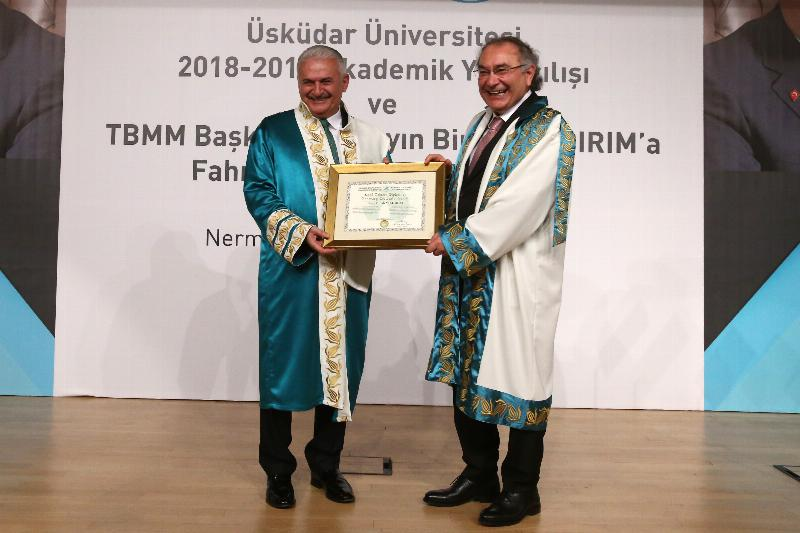 The Speaker of the Grand National Assembly of Turkey Mr. Binali Yıldırım received an Honorary Doctorate Degree from Üsküdar University 6