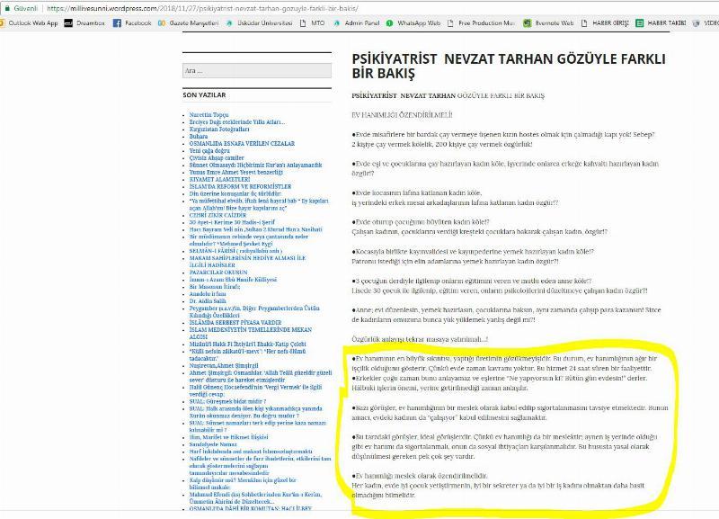 """Prof. Dr. Nevzat Tarhan: """"Ev hanımlığıyla ilgili asılsız paylaşımlara itibar etmeyin!"""""""