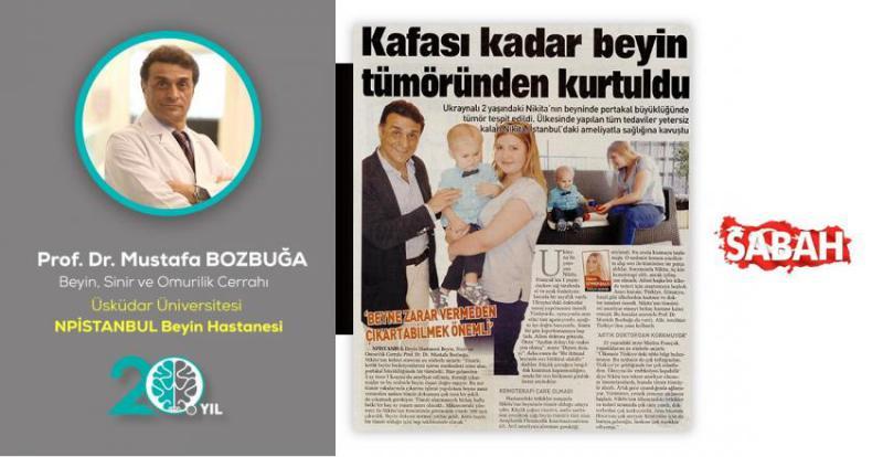 تم اكتشاف ورم بحجم البرتقالة في دماغ نيكيتا الأكرانية التي تبلغ من العمر عامين. كانت جميع العلاجات في بلدها غير كافية وتعافت نيكيتا بعد العملية الجراحية في اسطنبول.